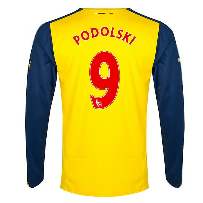 2014-15 Arsenal Long Sleeve Away Shirt (Podolski 9)
