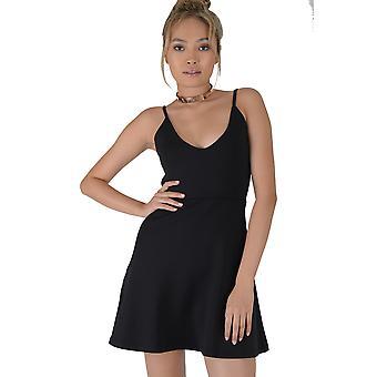 fbbc2a56e8c4 Lovemystyle Black Strappy Plunge A-Line Silk/Satin Dress