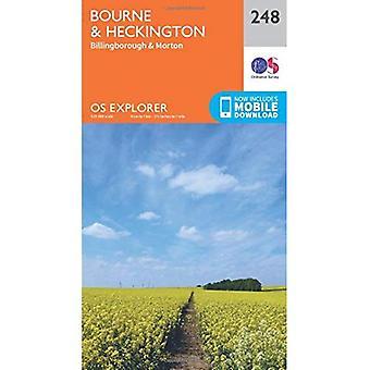 Heckington e OS Explorer Bourne de mapa (248)
