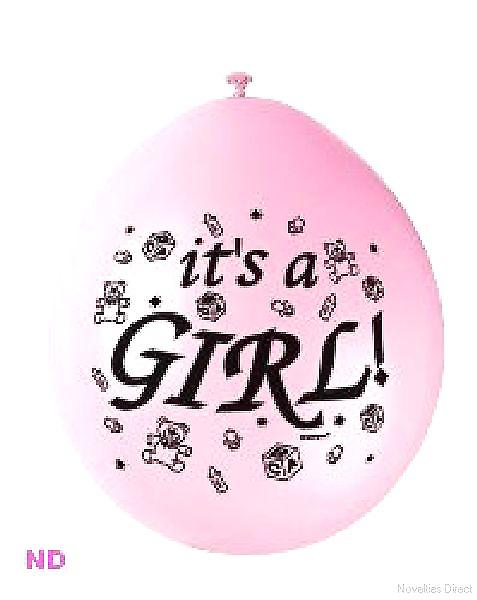"Balloons 'IT'S A GIRL' 9"" Latex Balloons Pink (10)"
