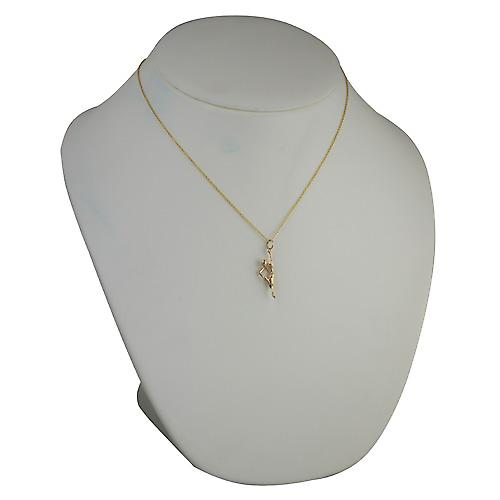 9ct Gold 26x7mm Yoga Position Pendant with Cable chain