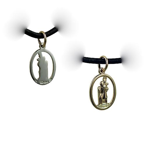 1/20th 14ct yellow gold on Silver 14x11mm oval pierced St Christoper Pendant with a Leather Pendant Cord 24 inches