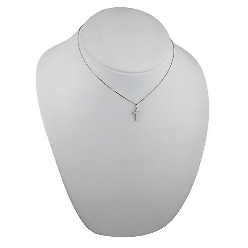 9ct White Gold 15x9mm plain solid block Cross with a curb Chain 16 inches Only Suitable for Children