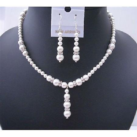 White Pearls Jewelry Drop Down With Silver Rondells Diamond Spacer Perfect Wedding Set