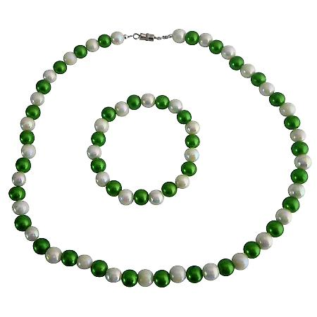Necklace Bracelet Jewelry Girls Return Gift Green White Round Beads