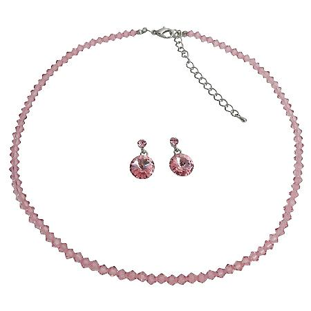 Dainty Delicate Rose Pink Crystal Jewelry Best Gift For Your Love