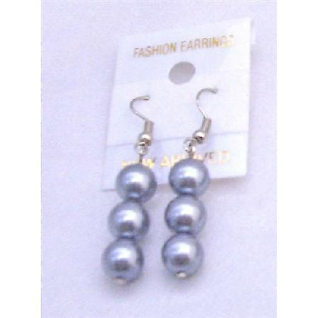 Big Gray Simulated Pearls Dangling Earrings Lovely Design Earring Gift
