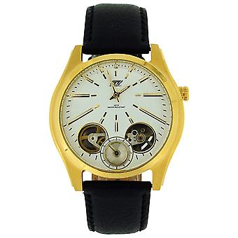 GT Precision Gents Automatic Skeleton White Dial Black Leather Strap Watch GT17A