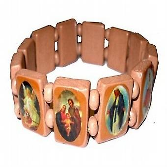 The Olivia Collection Small Light Brown Wooden Religious Icons Bracelet