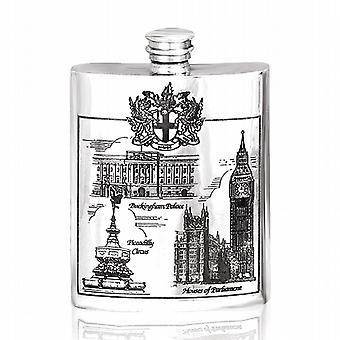 London Scene Pewter Hip Flask 6Oz