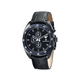 Emporio Armani Ar5916 Mens Navy Chronograph Leather Watch