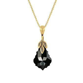 Eternal Collection Baroque Jet Black Crystal 14ct Gold Vermeil Pendant Necklace