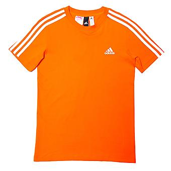 Junior Boys adidas 3 Stripe T-Shirt In Orange White- Short Sleeve- Ribbed