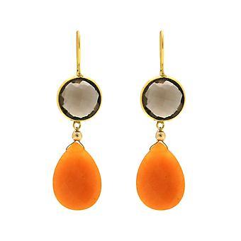 Gemshine earrings smoky quartz, orange jade gemstone drop 925 silver plated