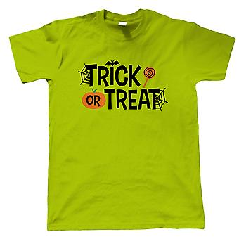 Trick Or Treat Mens T-Shirt | Halloween Fancy Dress Costume Trick Or Treat | Hallows Eve Ghost Pumpkin Witch Trick Treat Spooky | Halloween Gift Him Dad
