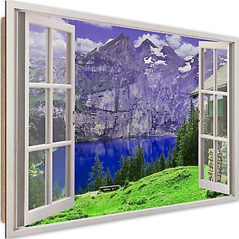 Panel dekoracyjny, okno-góry i jezioro