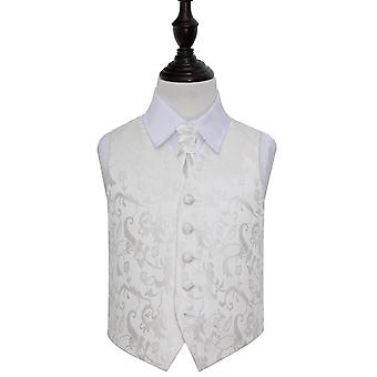 Boy's Ivory Passion Floral Patterned Wedding Waistcoat & Cravat Set