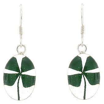 Shrieking Violet Sterling Silver Four Leaf Clover Shamrock Oval Drop Earrings