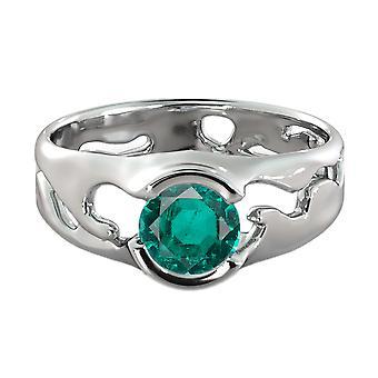 Smeraldo CT 1,00 anello 14k oro bianco solitario unico Designer