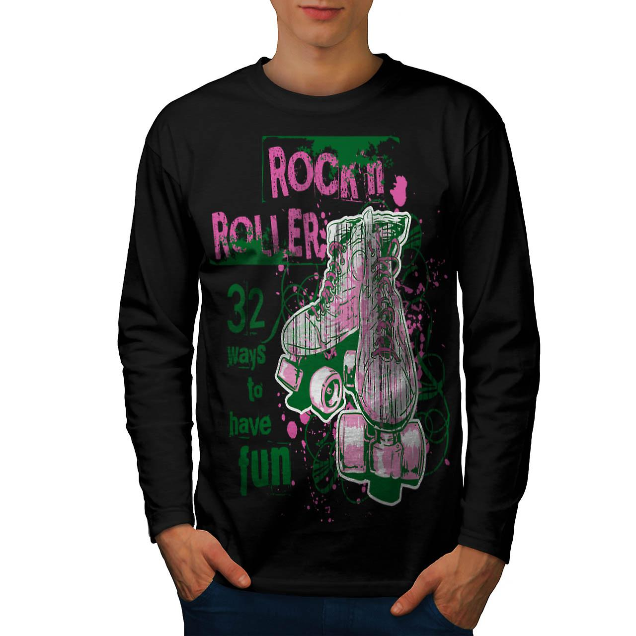 Rock and Rollers Fun Skate Shoes Men Black Long Sleeve T-shirt | Wellcoda