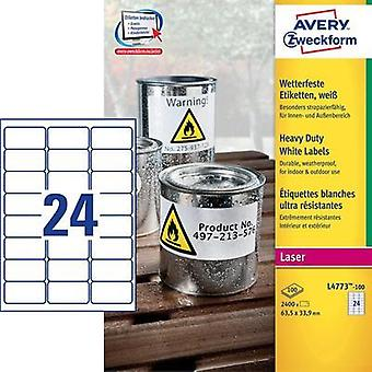 Avery-Zweckform L4773-100 Labels (A4) 63.5 x 33.9 mm Polyester film White 2400 pc(s) Permanent All-purpose labels, Weath