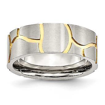 Ring aus rostfreiem Stahl Satin und gefedert vergoldet Herren 8mm Band - Größe 9,5