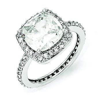 Sterling Silver taille Rose Cubic Zirconia Square Ring - anneau taille: 6 à 8