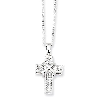 Sterling Silver and CZ Polished Cross Necklace - 18 Inch