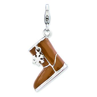 Sterling Silver Enameled 3-d Snow Boot With Lobster Clasp Charm - 4.4 Grams