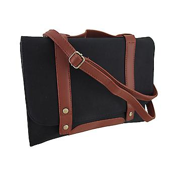 Black Canvas Foldover Cross Body Bag w/abnehmbare Schulter-Riemen