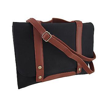 Black Canvas Foldover Cross Body Bag w/afneembare schouder riem