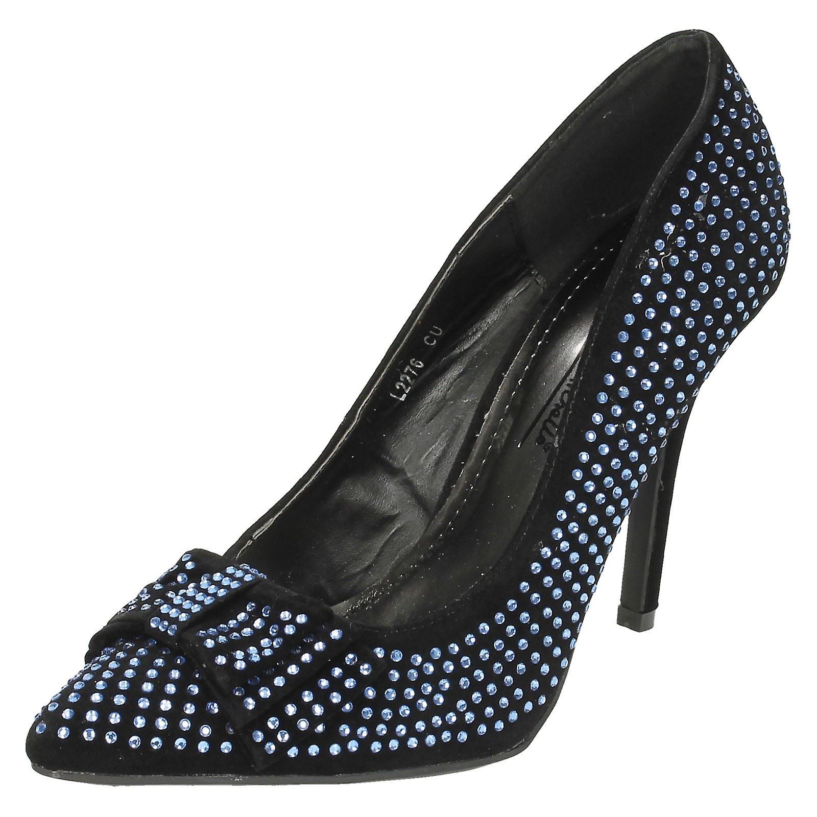 Ladies Anne Michelle Shoes-Low Diamante Bow Detail Party Shoes-Low Michelle price sale-Men's/Women's 553b6b
