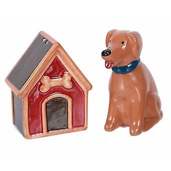 Perrito marrón con su perro casa sal y pimienta coctelera Set