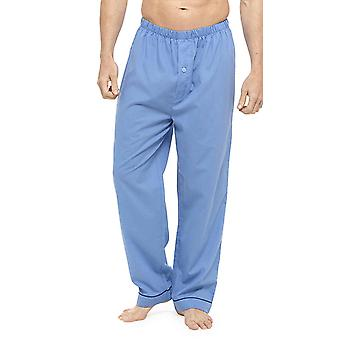Mens Twin Pack Traditional Soft Feel Pyjama Bottoms-Elasticated Waist Button Fly