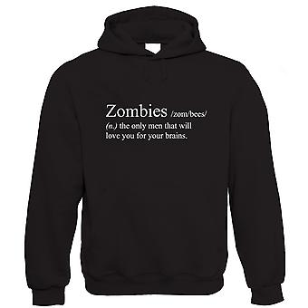 Vectorbomb, Zombies Love You For Your Brains, Funny Unisex Hoodie