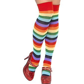 Stockings women's colorful rainbow Rainbow clown stockings socks