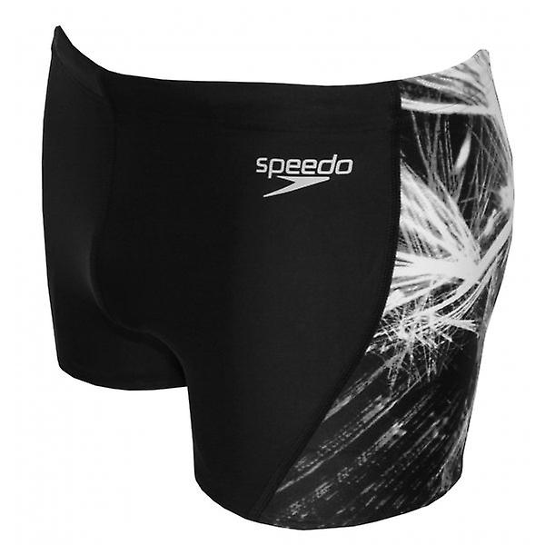 Speedo Endurance+ Placement Curve Panel Aqua Short, Black/Grey
