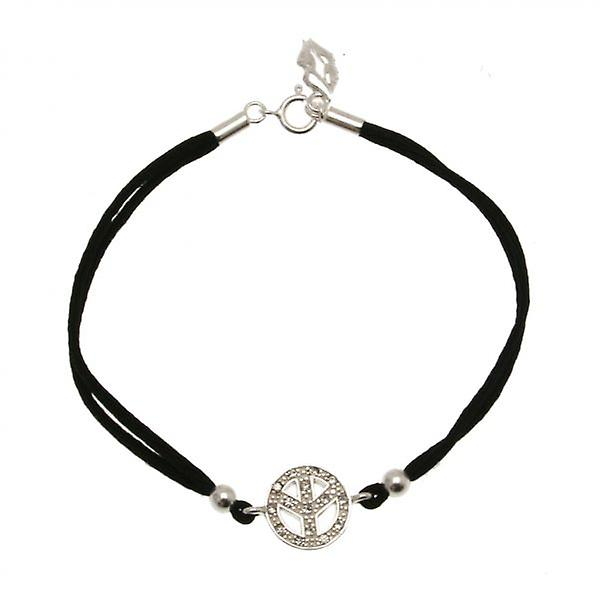 W.A.T Black Satin Cord 925 Sterling Silver Peace Symbol Friendship Bracelet