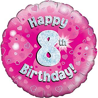 Oaktree 18 Inch Happy 8th Birthday Pink Holographic Balloon