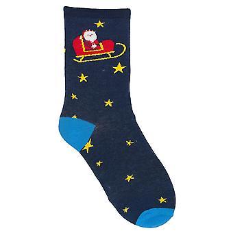 RJM Ladies Christmas Socks Blue Stars & Sleigh Size UK 4-7