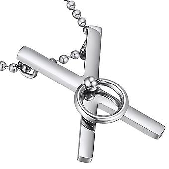 Saint Andrew's Cross Pendant, Ring of O, Stainless Steel, Jewellery