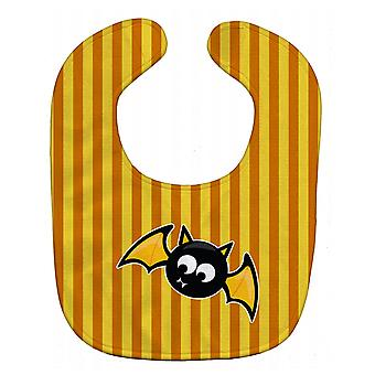 Carolines Treasures  BB9112BIB Halloween Bat Orange Stripes Baby Bib