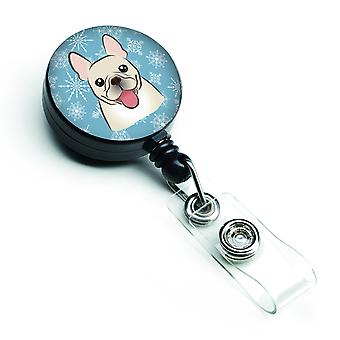 Carolines tesoros BB1672BR copo de nieve Bulldog Francés insignia Retractable carrete