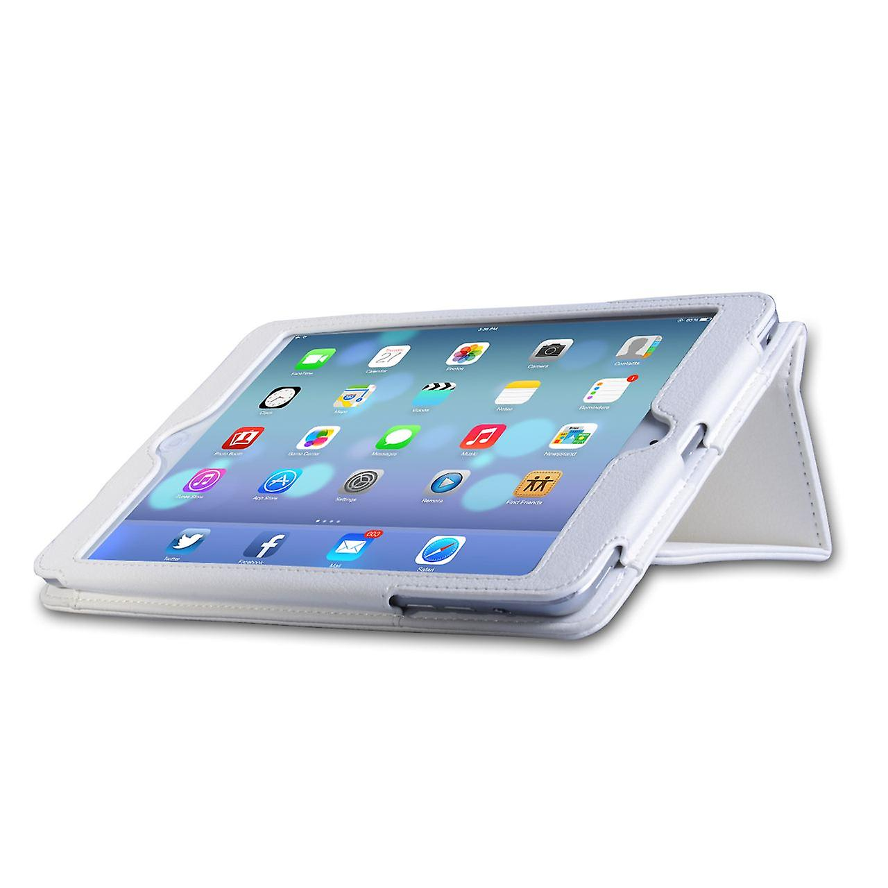 Caseflex Ipad Mini 2 Textured Leather-Effect Stand Case - White