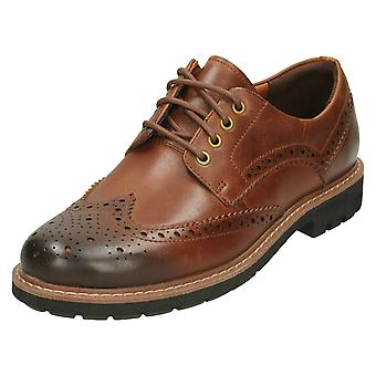 Mens Clarks Formal Brogues Batcombe Wing - Dark Tan Leather - UK Size 6.5G - EU Size 40 - US Size 7.5M