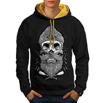 Skull Beard Cool Fashion Men Black (Gold Hood) Contrast Hoodie | Wellcoda