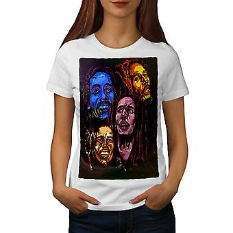 Bob Marley Colours Women WhiteT-shirt | Wellcoda