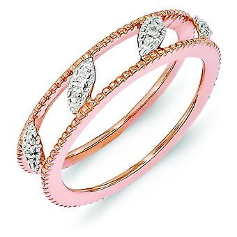 4.75mm Sterling Silver Polished Prong set Stackable Expressions Rose Gold-Flashed Diamond Jacket Ring - Ring Size: 5 to