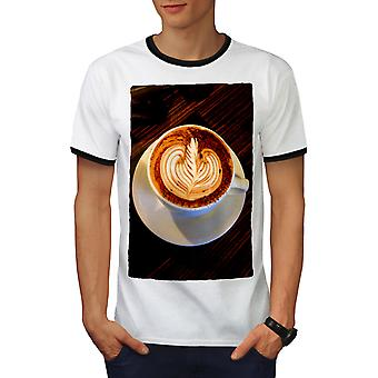 Coffee Cup Art Photo Men White / BlackRinger T-shirt   Wellcoda