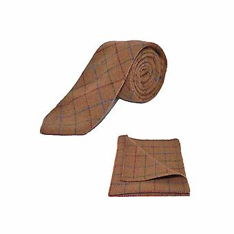 Heritage Check Rustic Brown Men's Tie & Pocket Square Set